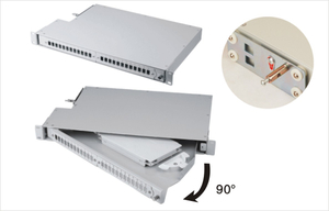 "MT-1004 High Quality 19"" Rotate Type Metal 1U Fully Loaded 24 Port Fiber Optic Distribution Box With SC LC APC Adaptor"
