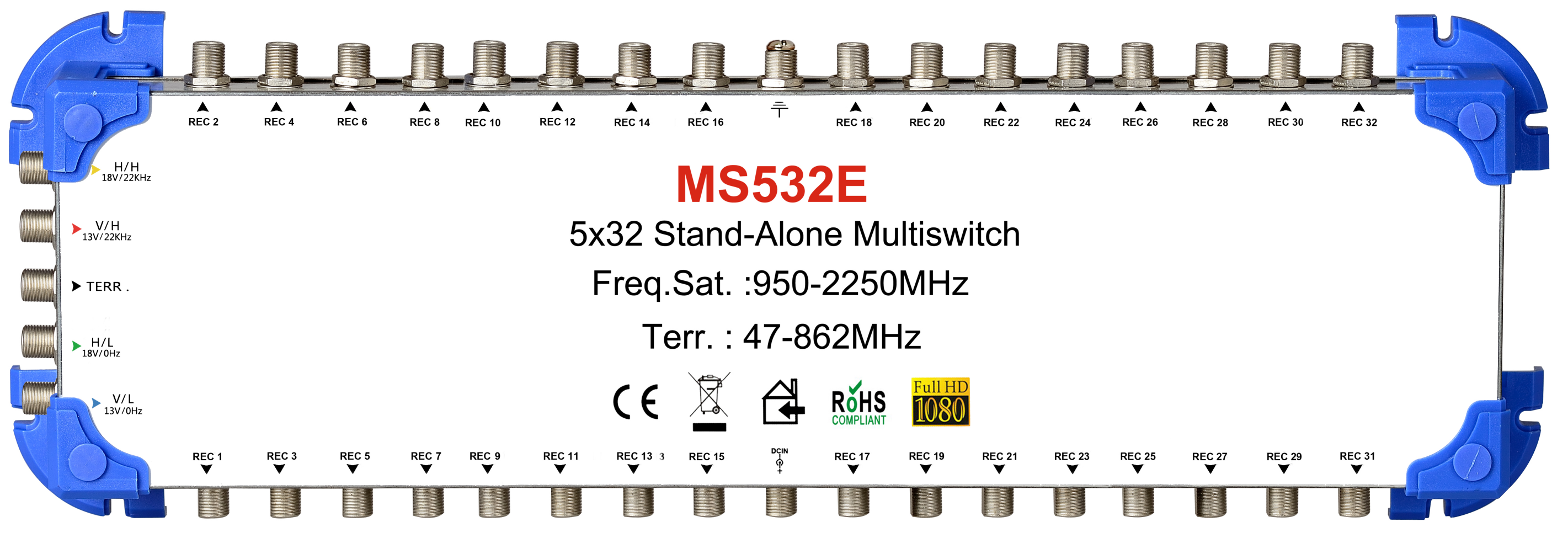 MT-7501 24 Multiswitch 5in Satellite Multiswitch System Sistema SMATV 5x32 Salida Para CATV