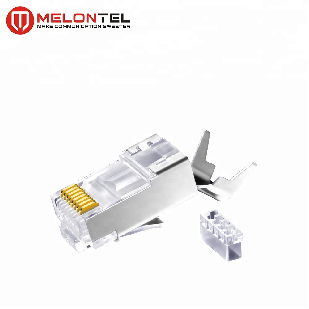 MT-5054 Gold Plated Metal Shield RJ45 8P8C Cat6A Cat7 STP Plug Connector Modular Plug
